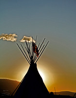 Arlee MT PowWow Teepee Silhouette with flag
